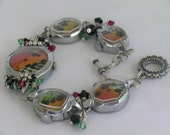 Bracelet with real butterfly wings and vintage watch cases