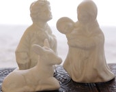 RESERVED- Nativity Set Vintage Manger Scene Holy Family Wisemen Animals White Ceramic Miniature, Vintage Home Decor- RESERVED for Caroline