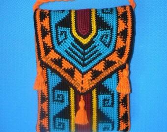 Crochet tapestry Bag, Native American Wayuu Bag boho style bag  shoulder tote tassels bag crossbody bag twisted handle