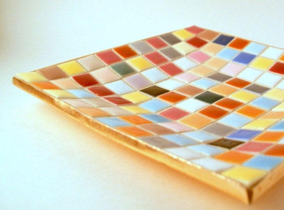 Beautiful Vintage Multi Color Tiled Dish by Napco