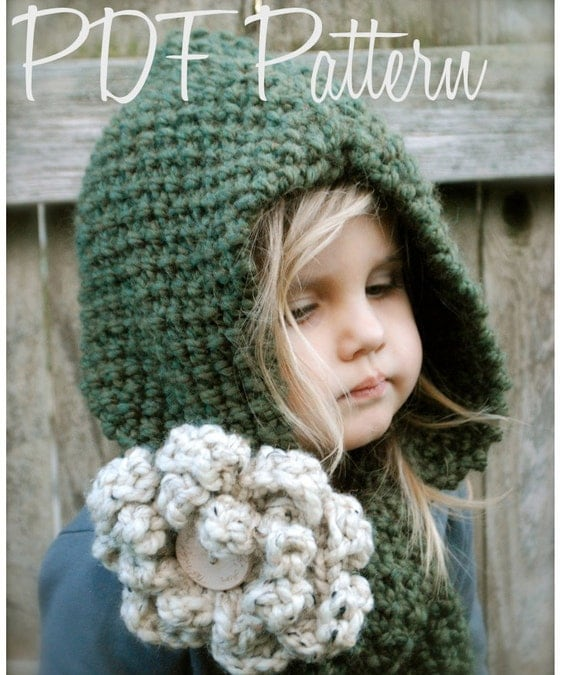 Knitting PATTERN-The Harper Hood Toddler Child Adult sizes
