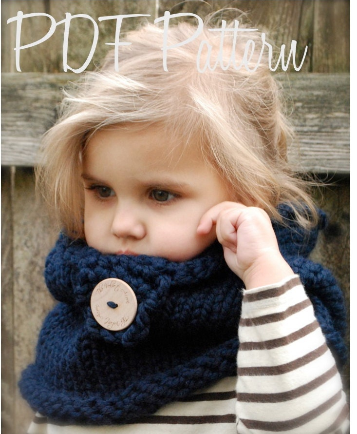Knitting PATTERN-The Canyon Cowl Toddler Child Adult sizes