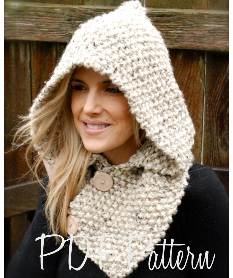 Easy Knitted Hooded Scarf Pattern Free : Knitting PATTERN-The Lakota Hood Child Adult sizes