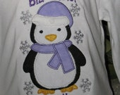 Big Sister Sibling Penguin T shirt or Bodysuit with Snowflakes and Free Personalization