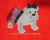 DESIGN  MACHINE APPLIQUE - 2 Mascot Bulldogs  - one with tutu - one without - 4x4 and 5x7 For the Ultimate Bulldog Fan