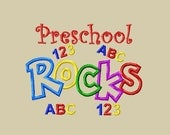 Design - Applique Preschool Rocks Embroidery Design 5x7