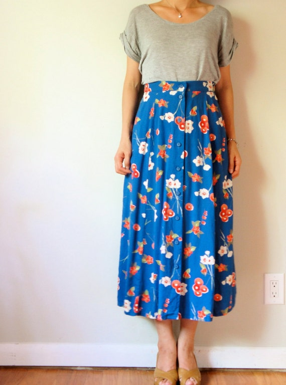 vintage women coral sea blue olive green hot pink floral printed high waisted pleated button front maxi long full skirt (medium)