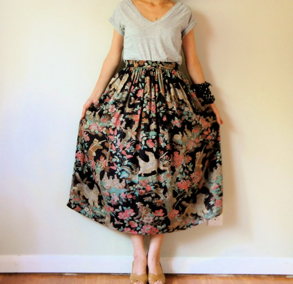 vintage women black blue peach pink brown floral printed high waisted pleated midi ankle long full maxi skirt (XSMALL)