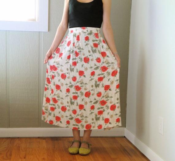 vintage women oatmeal beige red orange azalea crimson olive green floral printed high waisted pleated midi calf long full skirt (large)