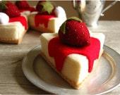Felt Food Strawberry Cheese Cake Slice