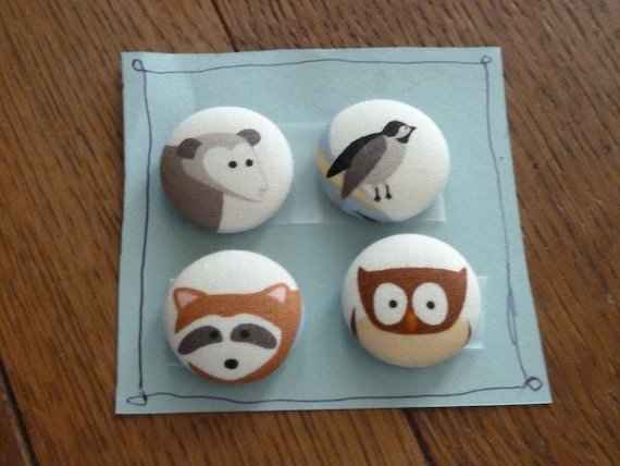 Woodland Button Magnets-Fabric Magnets set 3
