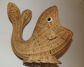 Whale Woven of Wicker large mouth kitschy plant holder or decorative vintage basket
