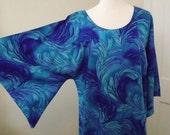 Vintage 60's 70's Hippie Hawaiian Caftan Dress Angel Wing Sleeves Ocean Turquoise Blue Waves