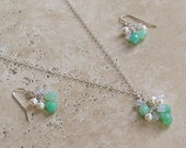 Chrysoprase, Chalcedony & Fresh Water Pearl Sterling Silver Necklace and Earring Set