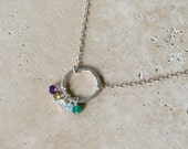 Unity 5 - Personalized Custom Mother & Child, or Family Birthstone Necklace with Sterling Silver and Semi Precious Gemstone Charms