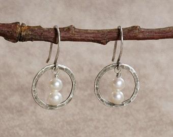 Antiqued Hammered Sterling Silver Orbit & Stacked Fresh Water Pearl Earrings