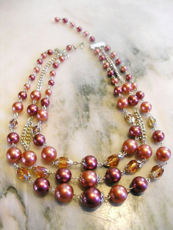 3 strand Dusty Rose Pearl Necklace-Upcycled Vintage Necklace