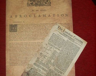 Replica 1718 broadsheet and King George's Proclamation of the Act of Grace extension
