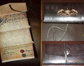 Custom Replica Pirate License or Letter of Marque in Leather Wallet