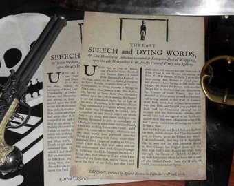 Replica Pirate Last Speech and Dying Words Broadside
