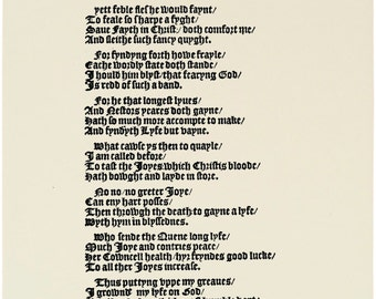Replica 1570 Broadside Ballad - Certayne versis writtene by Thomas Brooke gentleman in the tyme of his imprysonment