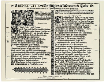 Replica 1575 Broadside Ballad - benedicitie or blessinge to be saide over the table, before meate