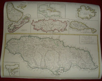 Replica 1721 English Map of the Caribbean Islands
