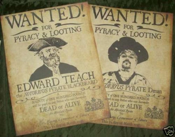Custom replica pirate wanted poster with your image for Wanted pirate poster template