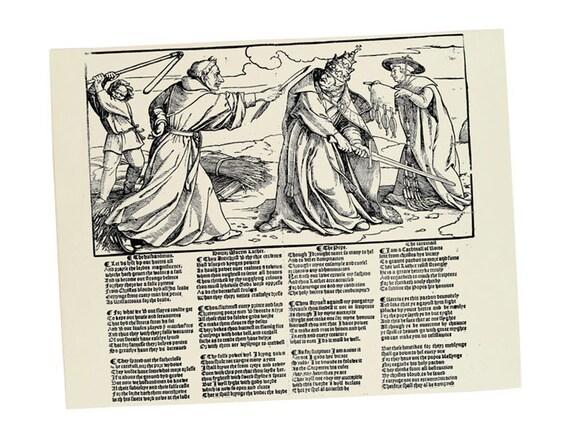 Replica 1550 Broadside Ballad - The Ballad of Luther, The Pope, A Cardinal, & A Husbandman