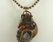 Driftwood Pendant with Beads on Oxidized Copper Ball Chain Necklace