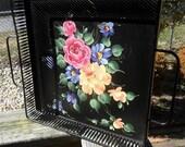 Floral Painted Black Metal Tray