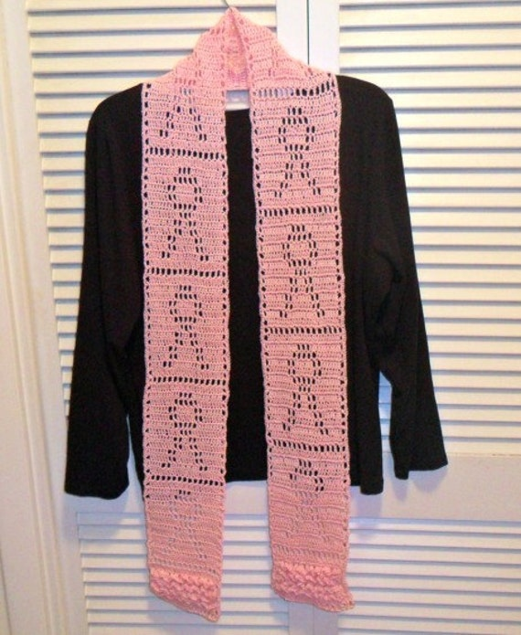 Breast Cancer Ribbon Filet Crocheted Scarf
