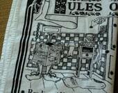 Rules of the Loo Vintage Tea Towel