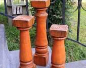 Candlesticks (set of 3) Handcrafted Beautiful Shabby Orange