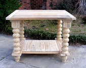 Kitchen Island Completely Handcrafted Solid Pine Unfinished With Knobby Balustrade Legs