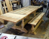 Unfinished Extension Dining Table And Matching Bench Handcrafted Solid Pine With Hand Carved Legs