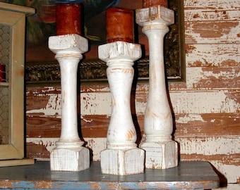 Balustrade Candlesticks, set of 3 Handcrafted White Vintage Balustrade Style