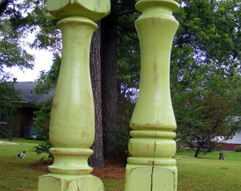 Candlesticks (set of 2) Handcrafted Shabby Lime Green