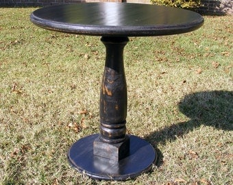 Marvelous Handcrafted Pedestal Table Distressed Black With Balustrade Leg 30 X 30  Inches
