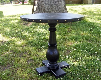 Completely Handcrafted Spanish Style Pedestal Table Satin Black With  Balustrade Leg 30 X 30 Inches