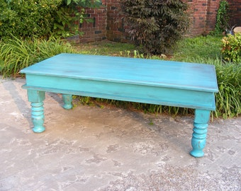 Mystic Blue Coffee Table with Beautiful Hand Carved Legs And Hinged Top For Storage
