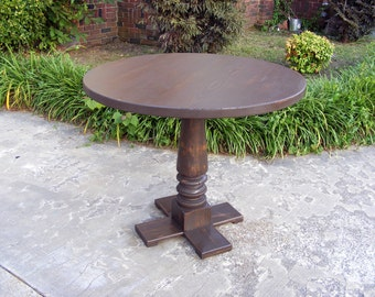 Distressed Leather Brown Pedestal Table With Hand Crafted Pedestal