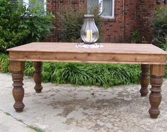 Handcrafted Solid Pine Light Walnut Dining Table with Beautiful Hand Carved Legs