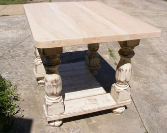 Kitchen Island Completely Handcrafted Solid 2 Inch Solid Maple Top With Distressed Ivory Legs And Shelf