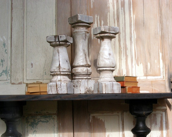 Super Chunky Balustrade Candlesticks (set of 3) Handcrafted Shabby White