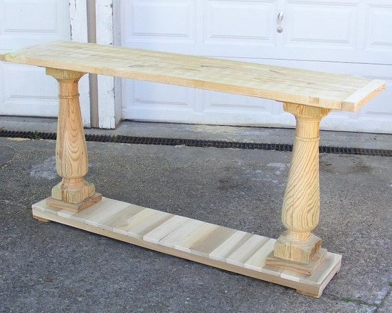 Console table handcrafted unfinished with balustrade legs for Sofa table unfinished