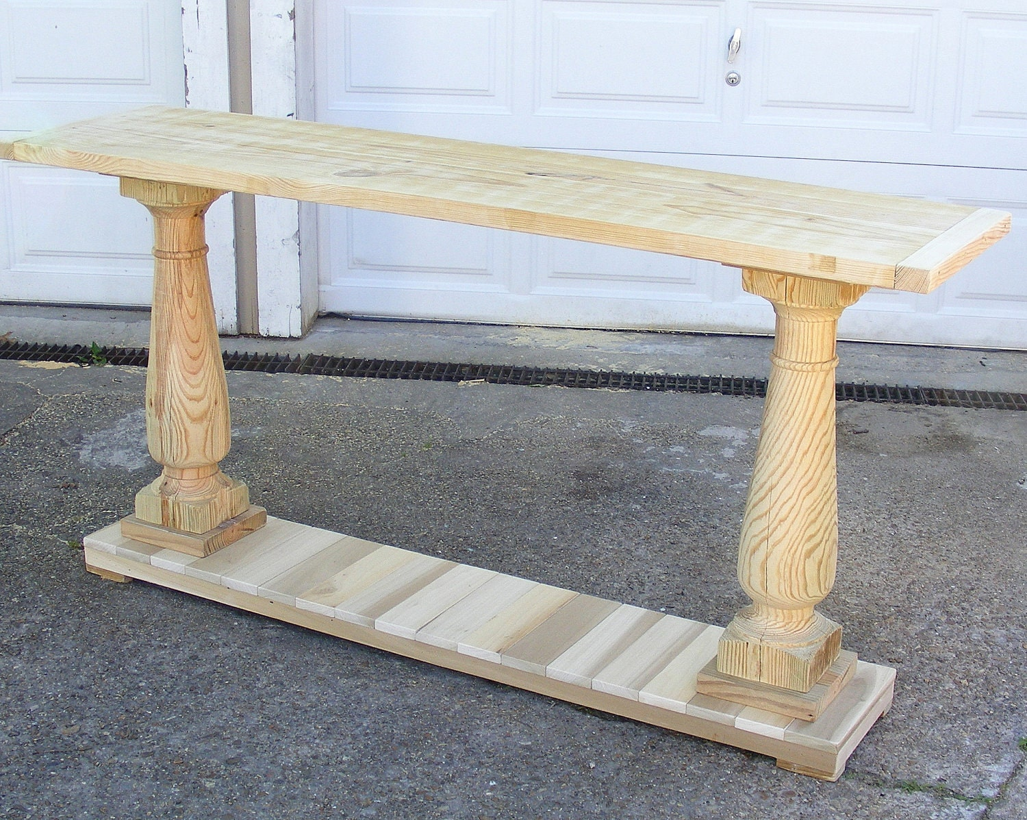 Console table handcrafted unfinished with balustrade legs zoom geotapseo Image collections