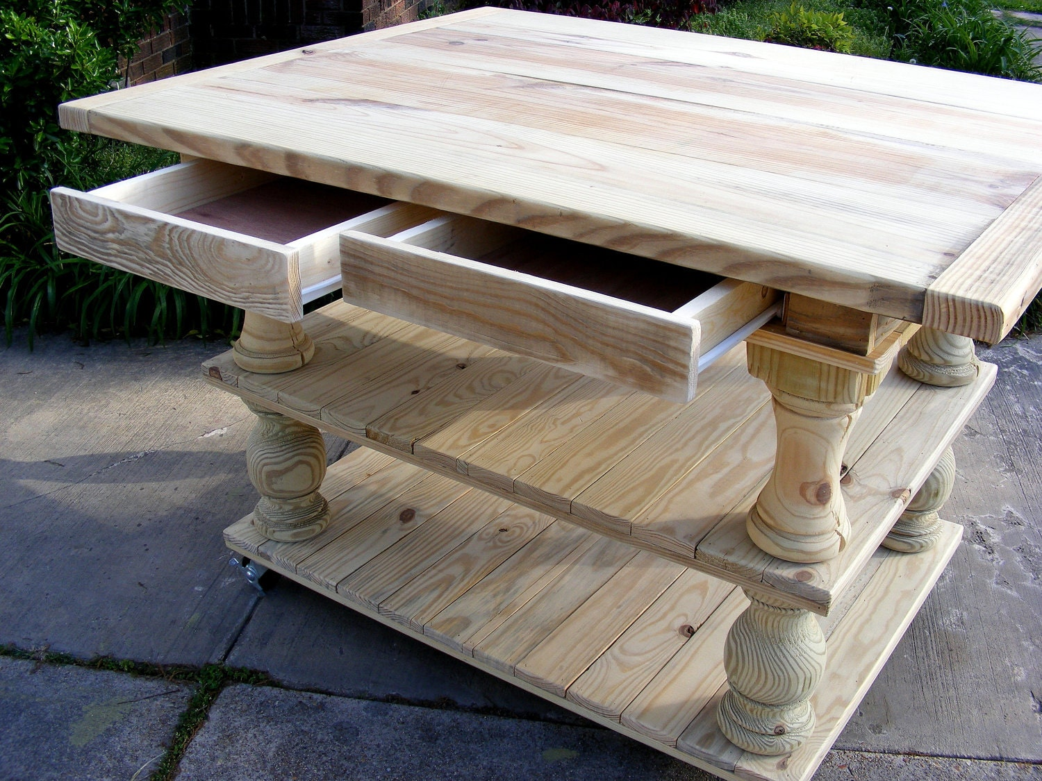 solid pine unfinished balustrade kitchen island with two