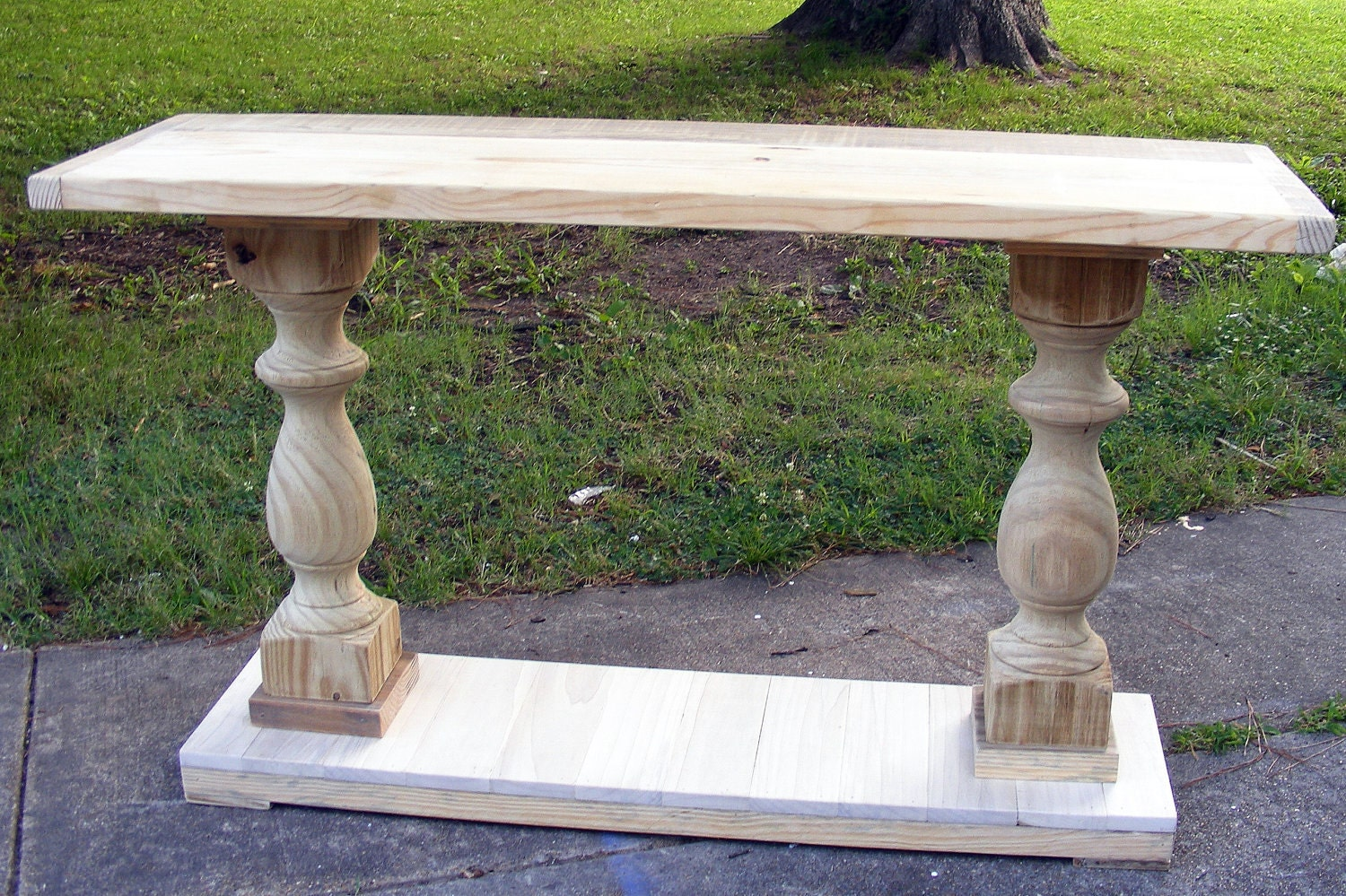 console table handcrafted unfinished balustrade  x x  - 🔎zoom