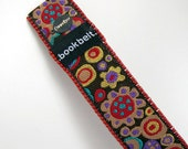 Floral Splash Bead Embroidered BookMark by BookBelt. Floral Brocade and tiny red beads. Rigid bookmark.